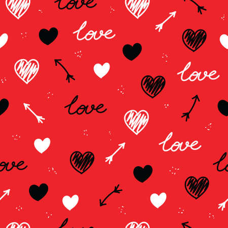 Seamless vector pattern with black and red hearts. Ornament for Valentine's day. Isolated on red background. Lettering love