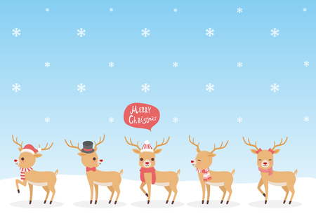 Set of characters cartoon cute Reindeer attributes for winter holidays and Christmas,in different costumes, vector illustration.