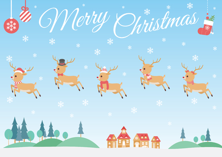 Set of characters cartoon cute Reindeer attributes for winter holidays and Christmas,in different costumes, running in the sky on the village and forest, vector illustration.