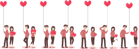 Set of characters cartoon cute couple of lover for love valentines day, holidays of love flat decorative elements with young women and men, romance, hearts, heart balloons of love, vector illustration.