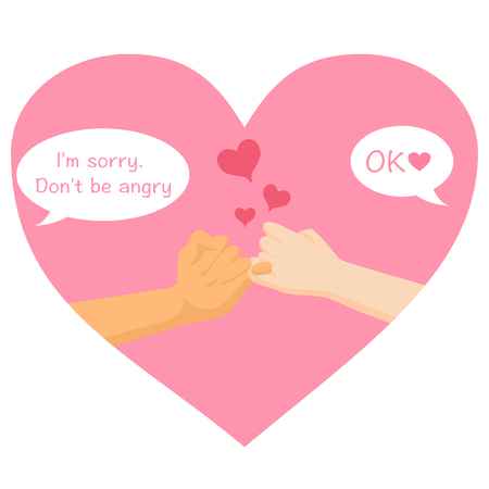 Im sorry dont be angry cross finger hands form on pink heart white background of love for valentines day, greeting invitation wedding card flat design, romance, sweet ,vector illustration.