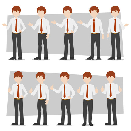 Set of business characters young adult handsome smart guys standing flat design in front view on white colour background for presentation and explain office work,flat vector illustrator.