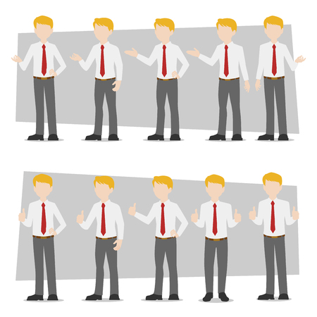 Businessman, Set of business characters young adult handsome smart guys standing flat design in front view on white and colour background for presentation and explain office work,flat vector illustrator.