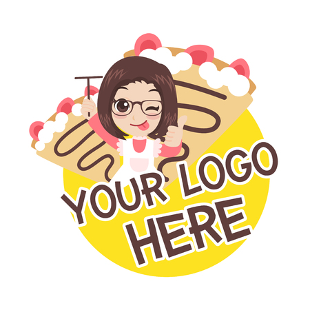 Cute girl character with crepe stowbery logo, cartoon vector illustration. Stock Illustratie