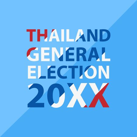 Thai General Election 2018, red white blue flag object flat style on blue background cartoon vector Illustration