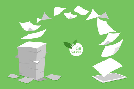 concept of stack white paperless go green, save the planet, earth, trees, leaf logo, documents turned into digital big data, business device, tablet, screen display, future technology, flat vector.