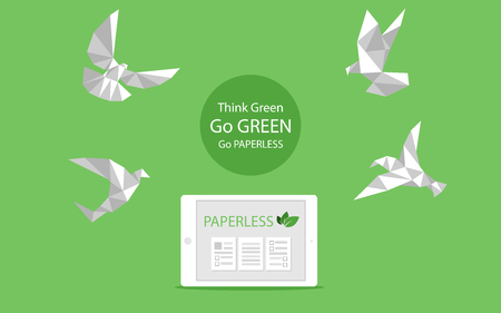 concept of white paper bird fly paperless go green, save the planet, earth, tree, leaf logo, documents, digital, big data, business device, tablet, polygonal, Abstract, low poly style flat vector. 向量圖像