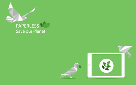concept of white paper bird fly paperless go green, save the planet, earth, tree, leaf logo, documents, digital, big data, business device, tablet, polygonal, Abstract, low poly style flat vector. Ilustração