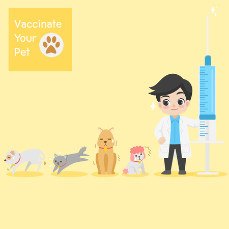 Frighten cute dogs, cat, doctor with injection needle character for vaccinate pets on background, vaccine concept, safety life, people health care, medical, medicine, flat design vector illustration.