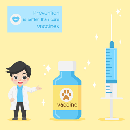 Doctor present injection needle and  medicine bottles with labels character for vaccinate pets on background, vaccine concept, safety life, people health care, medical, flat design vector illustration