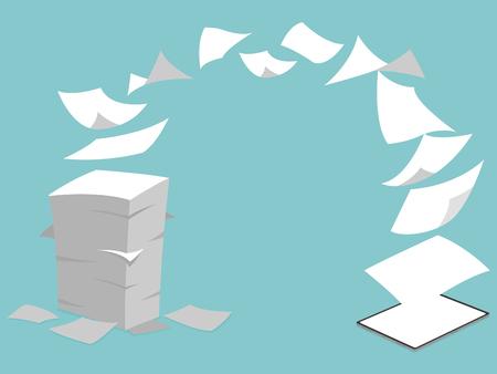 Konzeptidee von Stack White Paperless Go Green Fly in neuen Tablet-Pro, den Planeten retten, Dokumente in digitale Big Data umgewandelt, Business-Gerät, Tablet-Bildschirmanzeige, Zukunftstechnologie, flacher Vektor.
