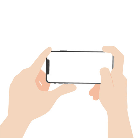 Hand hold new powerful Smart Phone new design advance technology with high resolution display, finger hand catch, business device, isolated on white background flat vector.