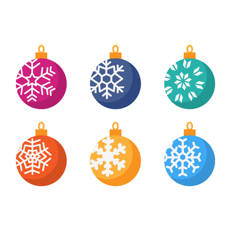 Set of different Christmas ball colorful flat design vector for greeting decorate holiday merry Christmas, Happy New Year.