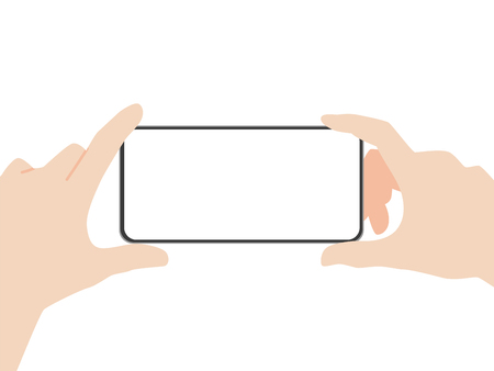 Hand hold new powerful Smart Phone new design advance technology with high resolution display, finger hand catch, business device concept, isolated on white background flat vector.