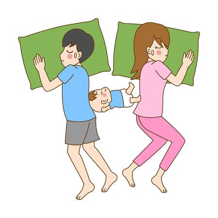 Pregnant Sleepless, mom can't sleep, cute cartoon character having a baby birth sleep together,mom, dad, kid, family care concept, outline cartoon vector illustration. Illustration