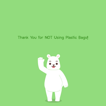 Thank you for not using Plastic Bags, Big cute white Polar bear happy,No Plastic Bag Concept, save world, protect animals flat design vector. Ilustrace