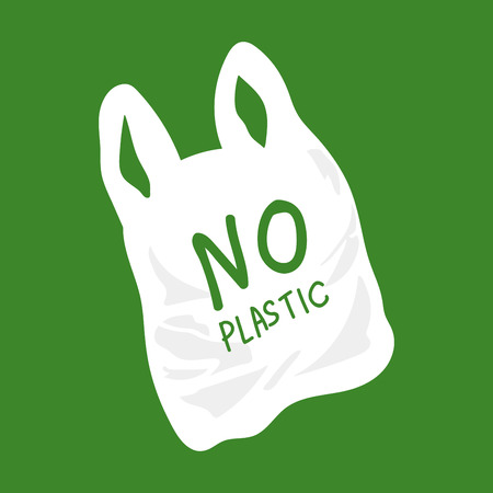 No Plastic Bag Concept, save world, protect animals flat design vector.