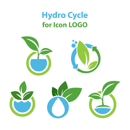 Hydro Cycle , Hydroponics icon LOGO Concept, flat design vector isolated white background.