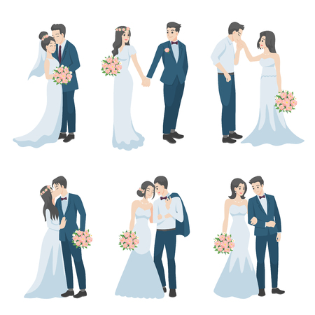 Satz von Hochzeitspaaren, Paar in Liebescharakteren Cartoon für Liebesvalentinstag, Feiertage, Hochzeit feiern, Romantik, Herzen, Datum, süß, Hochzeitsblume, gerade verheiratet, Jungvermählten, Braut, Bräutigam. Vektorgrafik