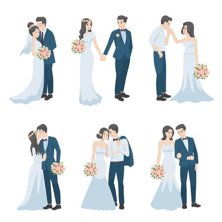 Set van bruidspaar, paar in liefde tekens cartoon voor liefde Valentijnsdag, vakantie, vieren huwelijk, romantiek, harten, datum, zoet, bruiloft bloem, net getrouwd, pasgetrouwden, bruid, bruidegom. Vector Illustratie