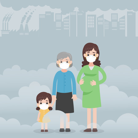People wearing protective face masks Character Medical Health care concept, kid, old woman, pregnant woman. Fine dust, PM 2.5, air pollution, industrial smog, pollutant gas emission.