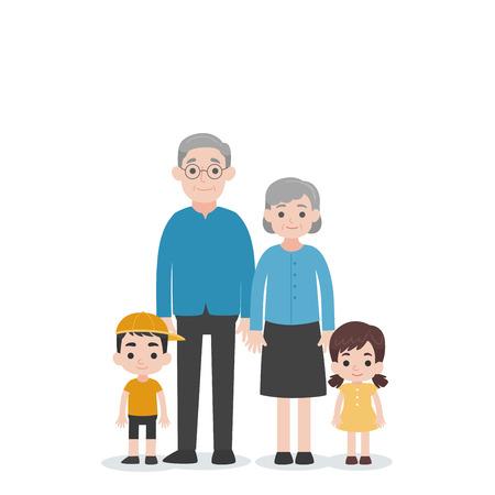 Ensemble de concept de famille de personnages de personnes, petit-enfant, neveu, nièce, grand-mère, grand-père, vecteur de conception plate de personnage de dessin animé sur fond blanc.