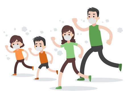 Conjunto de carácter familiar de personas, gente corriendo con mascarillas protectoras Concepto de atención médica médica, vector de diseño plano de personaje de dibujos animados sobre fondo blanco.