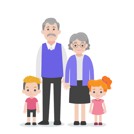 Set of People Character Family concept,grandchild, nephew, niece grand mother, grand father, cartoon character flat design vector on white background.