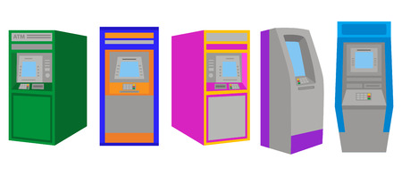 Set of ATM machine concept, flat design icon objectsvector on white background. Reklamní fotografie - 124897163