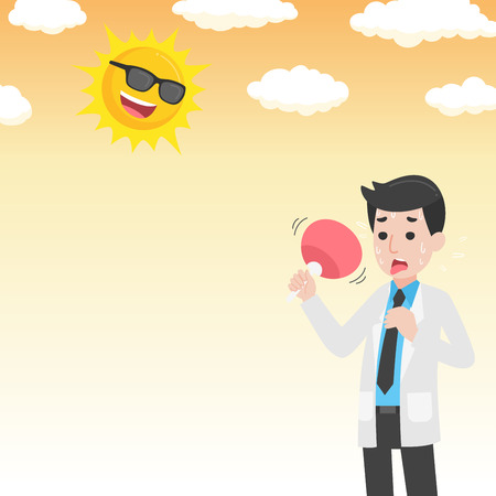 Doctor holding fan have heatstroke in summer concept, hot weather, cartoon character vector in flat design Medical Health care Life.