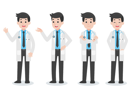 Set of Doctor Character Medical Health care concept, cartoon character vector in flat designHealth Life.
