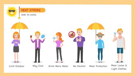 Set of Heatstroke Medical Heath Care concept Ilustrace