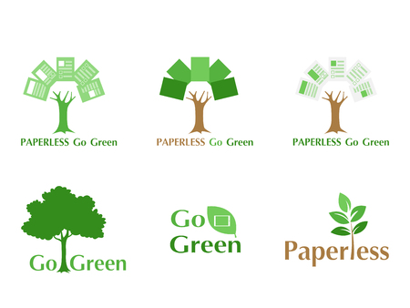 Set of paperless LOGO go green concept, paper tree, document leaf, save the planet, earth, tree, leaf logo design, polygonal, Abstract, flat vector style. Logo