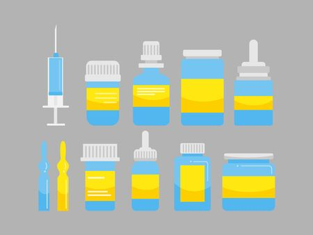 Group of Medicine white blue yellow bottles and syringe, pharmacy, hospital set of drugs with labels. Medication, pharmaceutics medical healthcare concept. Vector illustration