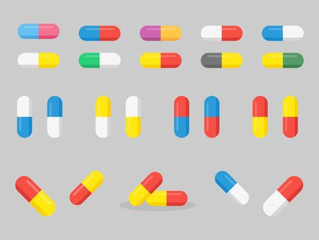 Set of  several colorful Medicine, pharmacy, tablet, capsule, hospital set of drugs with labels. Medication, pharmaceutics medical healthcare concept. Vector illustration Banco de Imagens - 132281307