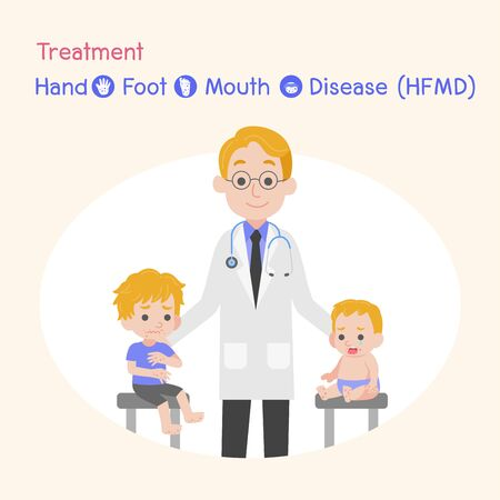 Treatment, Children infected, Baby and child have a Hand Foot Mouth Disease, Medical Health care concept, Take patient to see doctor, cartoon character vector design. Illusztráció