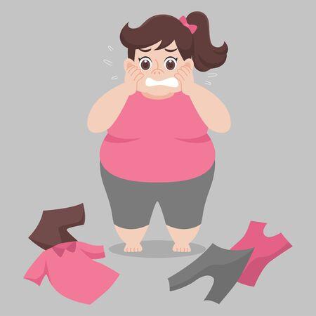 Big Fat Frau kann ihre Kleidung nicht tragen, weil sie zu dick, eng, fit, zu klein, Körper übergewichtig, traurig, ängstlich, unglücklich, groß ist, Diätkarikatur abnehmen, Lebensstil gesund Gesundheitskonzept Vektorgrafik