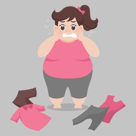 Big Fat woman cannot wearing her clothes because she is too fat,tight, fit, too small, body over weight, sad, afraid, unhappy, big size, diet  cartoon lose weight, Lifestyle healthy Healthcare concept Archivio Fotografico - 132024222