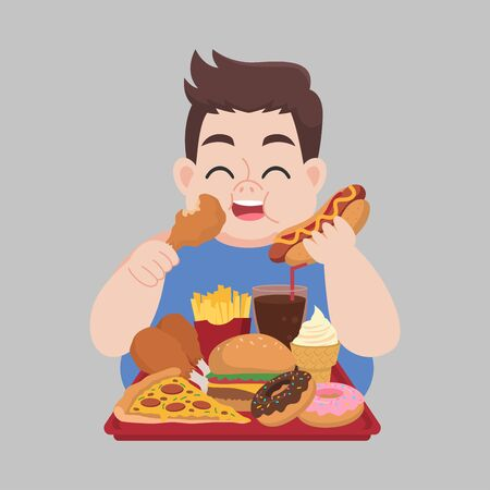 Big Fat Happy man enjoy eat fast food, junk food, chicken drumstick, pizza, donuts, French fries, Hamburger, ice cream, coca cola, hot dog, unhealthy cartoon, diet lose weight, Healthcare concept