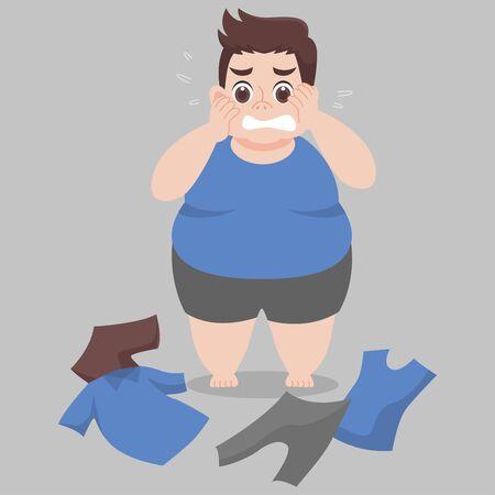 Big Fat Man kann ihre Kleidung nicht tragen, weil sie zu dick, eng, fit, zu klein, Körper übergewichtig, traurig, ängstlich, unglücklich, groß ist, Diätkarikatur abnehmen, Lebensstil gesund Gesundheitskonzept Vektorgrafik