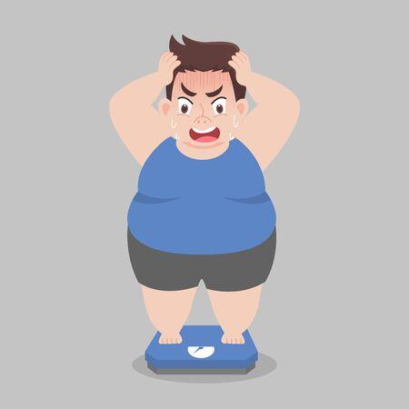 Big Fat Man steht auf elektronischen Waagen für Gewicht Körpergewicht, Schock, Gesundheitskonzept Cartoon Gesunder Charakter flaches Vektordesign. Vektorgrafik