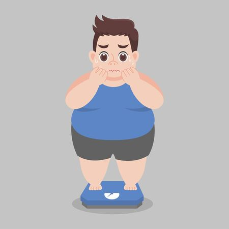 Big Fat Man worry standing on electronic scales for weight Body weight Healthcare concept cartoon  Healthy character flat vector design.