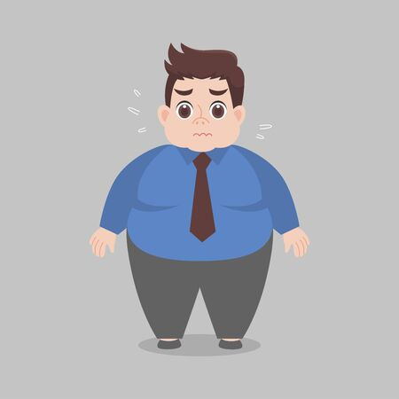 Big Fat working woman worry wearing Work clothes, Healthcare concept cartoon Healthy character flat vector design.