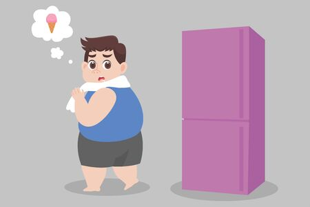 Big Fat Man hungry ice cream try to not eat looking at refrigerator Healthcare concept cartoon.