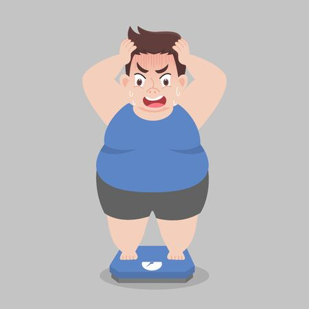 Big Fat Man standing on electronic scales for weight Body weight, shock, Healthcare concept cartoon  Healthy character flat vector design. Иллюстрация