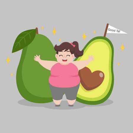 Fat woman love avocado good fat Ketogenic Diet weight loss Healthcare concept cartoon.