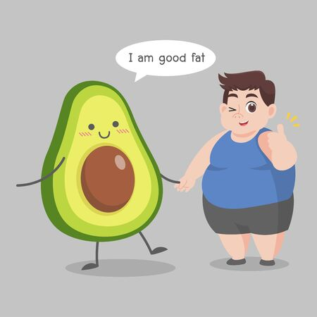 Fat Man love avocado good fat Ketogenic Diet weight loss Healthcare concept cartoon. Ilustração