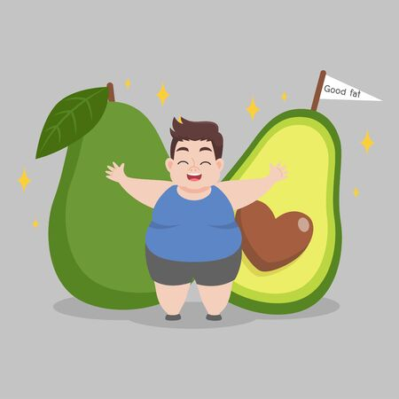 Fat Man love avocado good fat Ketogenic Diet weight loss Healthcare concept cartoon. Ilustrace