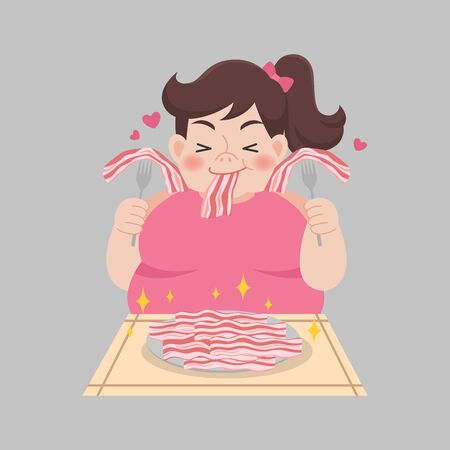 Fat woman love bacon enjoy eating Ketogenic Diet foods weight loss Healthcare concept cartoon.