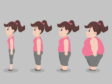 Set of Cute character Big Fat woman for lose weight grow thin diet Healthcare concept.